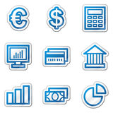 Finance web icons, blue contour sticker series. Vector web icons. Easy to edit, scale and colorize Royalty Free Stock Image