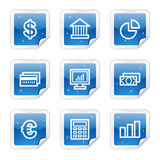 Finance web icons, blue glossy sticker series. Vector web icons, blue glossy sticker series Royalty Free Stock Photography