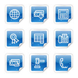 Finance web icons, blue sticker series set 2. Vector web icons, blue glossy sticker series Stock Photo
