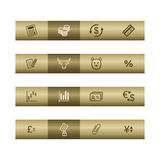 Finance web icons on bronze bar. Web icons on bronze bar. Vector file has layers, all icons in two versions are included Stock Photography