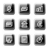 Finance web icons, glossy buttons series. Vector web icons, black square glossy buttons series Royalty Free Stock Image