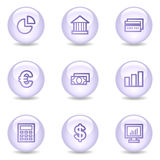 Finance web icons, glossy pearl series Stock Images