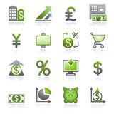 Finance web icons. Gray and green series. Vector icons set for websites, guides, booklets Royalty Free Stock Photos
