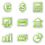 Finance web icons, green contour sticker series. Web icons set. Easy to edit, scale and colorize Royalty Free Stock Photos