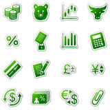 Finance web icons, green sticker series Royalty Free Stock Photography
