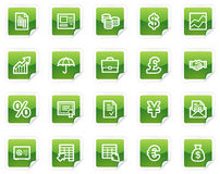 Finance web icons, green sticker series. Vector web icons, green sticker series Royalty Free Stock Image