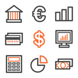 Finance web icons, orange and gray contour series. Vector web icons, orange and gray contour series Stock Images