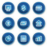 Finance web icons set 1, blue circle buttons. Vector web icons set. Easy to edit, scale and colorize Stock Image