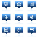 Finance web icons set 1, blue speech bubbles. Vector web icons set. Easy to edit, scale and colorize Royalty Free Stock Photos