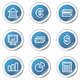 Finance web icons set 1, blue sticker series. Vector web icons set. Easy to edit, scale and colorize Royalty Free Stock Images