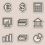 Finance web icons set 1, brown contour sticker. Vector web icons set. Easy to edit, scale and colorize Stock Photos