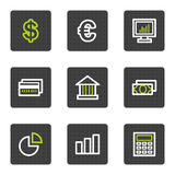 Finance web icons set 1, grey square buttons. Vector web icons set. Easy to edit, scale and colorize Royalty Free Stock Images
