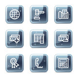 Finance web icons set 2. Vector web icons, blue glossy mineral square buttons series Stock Photos