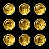 Finance web icons set 2. Vector web icons, gold glossy circle buttons series Royalty Free Stock Photo