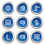 Finance web icons set 2. Web icons, blue electronics buttons series Royalty Free Stock Photography