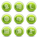 Finance web icons set 2. Vector web icons, green glossy circle buttons series Stock Image