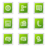 Finance web icons set 2. Vector web icons, green stamp series Royalty Free Stock Images