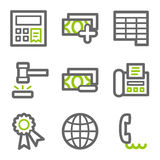 Finance web icons set 2. Vector web icons, green and gray contour series Royalty Free Stock Photo