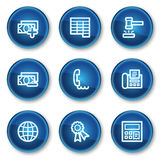 Finance web icons set 2, blue circle buttons. Vector web icons set. Easy to edit, scale and colorize Stock Image