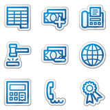Finance web icons set 2, blue contour sticker. Vector web icons. Easy to edit, scale and colorize Stock Image