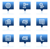 Finance web icons set 2, blue speech bubbles Stock Photos