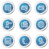 Finance web icons set 2, blue sticker series. Vector web icons set. Easy to edit, scale and colorize Stock Images