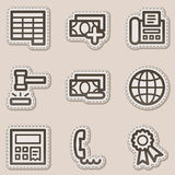 Finance web icons set 2, brown contour sticker. Vector web icons set. Easy to edit, scale and colorize Stock Image