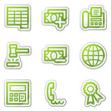 Finance web icons set 2, green contour sticker Stock Images