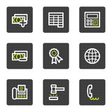 Finance web icons set 2, grey square buttons. Vector web icons set. Easy to edit, scale and colorize Stock Image