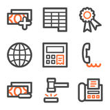 Finance web icons set 2, orange and gray contour. Vector web icons, orange and gray contour series Royalty Free Stock Photos