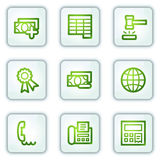 Finance web icons set 2, white square buttons. Vector web icons set. Easy to edit, scale and colorize Stock Image