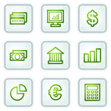 Finance web icons, white square buttons series. Vector web icons set. Easy to edit, scale and colorize Royalty Free Stock Photo