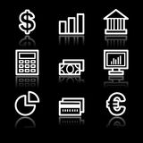 Finance white contour web icons Royalty Free Stock Image