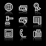 Finance white contour web icons set 2 Royalty Free Stock Image