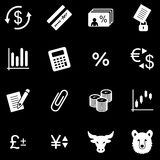 Finance white web icons. Vector web icons, white series Royalty Free Stock Photography