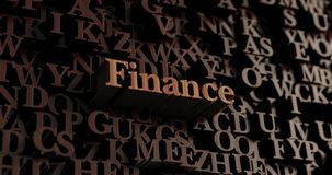 Finance - Wooden 3D rendered letters/message. Can be used for an online banner ad or a print postcard Stock Photography