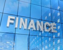 Finance word on building. A big word finance on a glass Stock Photos