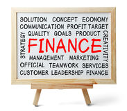 Finance Word Cloud. Is written on a whiteboard which is isolated on white background stock photos