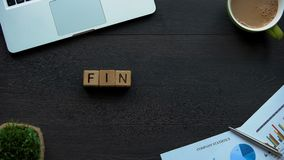Finance word made of cubes, budget planning, report on companys money, profit. Stock footage stock video