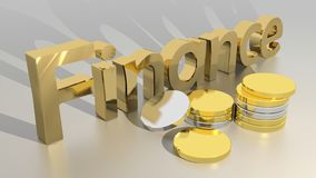 Finance. The word Finance in a perspective view together with some coins Stock Photography