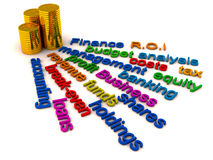 Finance words collage. Collage of words related to finance and money with a stack of gold coins Royalty Free Stock Photography