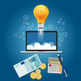 Finance your ideas get funding to launch  start-up project. Finance your ideas get funding to launch your start-up project vector Royalty Free Stock Image