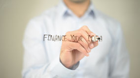 Finance Your Ideas , man writing on transparent screen. High quality Stock Photo