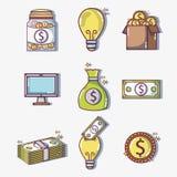 Financement crowdfunding réglé d'argent d'affaires illustration de vecteur