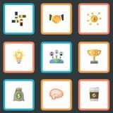 Financement plat d'icônes, revenu, coupure et d'autres éléments de vecteur Ensemble d'icônes plates d'idée Image stock