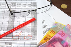 Finances. Business composition. Financial analysis - income statement, red marker, glasses and Swiss frank money