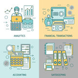Finances And Accounting Concept. With analytics business transactions archives and briefcase computer printer magnifier  vector illustration Royalty Free Stock Photos