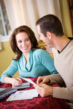 Finances: Couple Working Together To Pay Bills Stock Photo