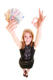 Finances d'économie La femme tient l'euro argent de devise Photographie stock