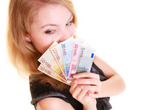 Finances d'économie La femme tient l'euro argent de devise Photos libres de droits
